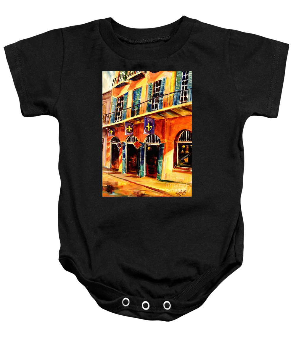 New Orleans Baby Onesie featuring the painting Banners On Royal Street by Diane Millsap