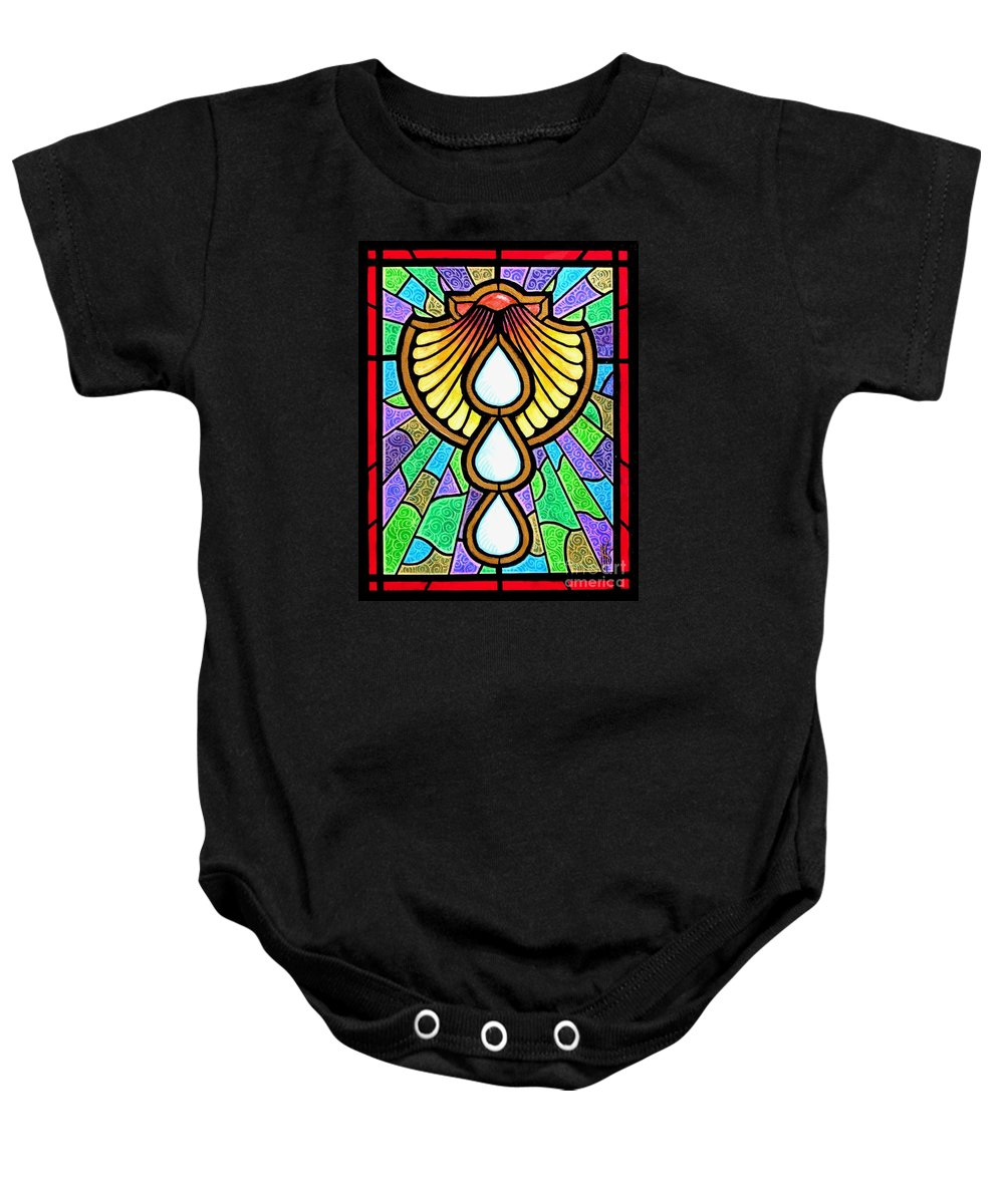 Baptism Baby Onesie featuring the painting Baptism by Jim Harris
