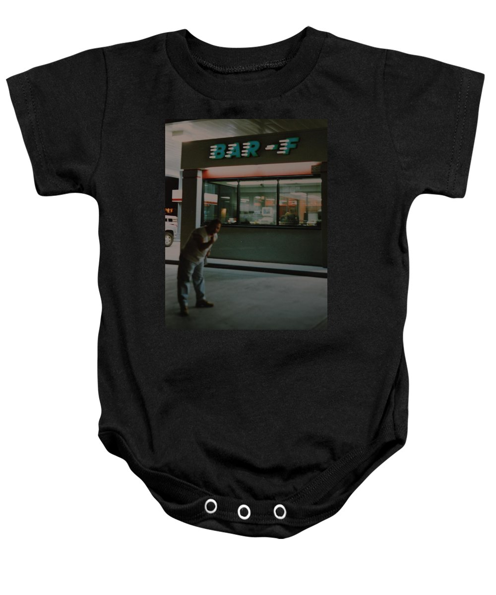 Funny Baby Onesie featuring the photograph Bar F by Rob Hans