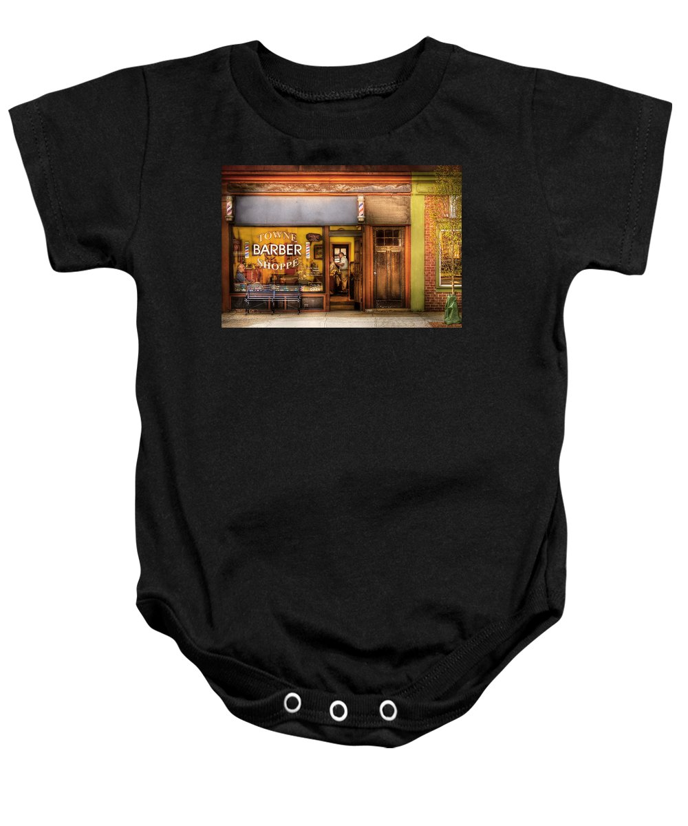 Hair Baby Onesie featuring the photograph Barber - Towne Barber Shop by Mike Savad