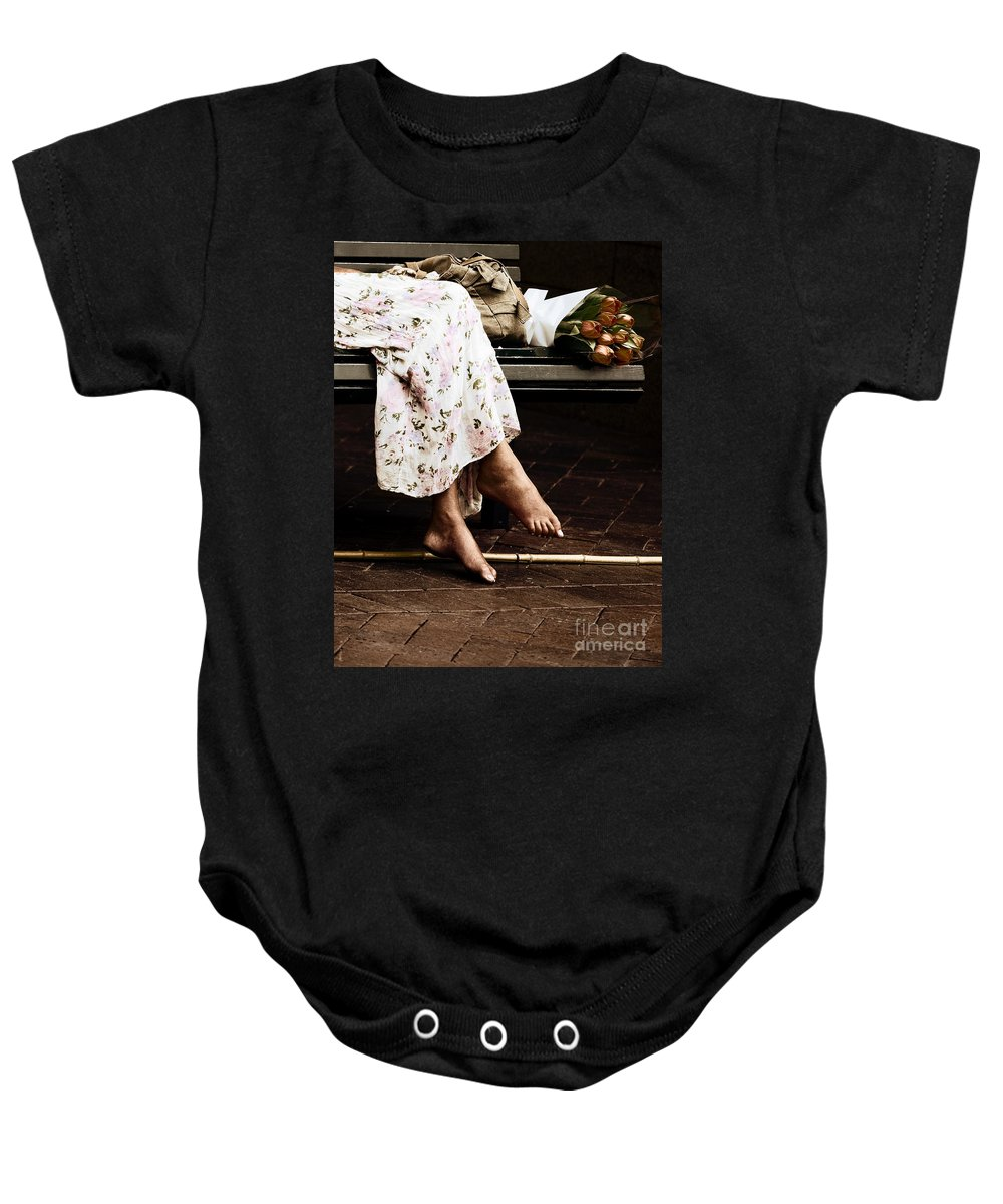 Barefeet Feet Barefoot Tulips Baby Onesie featuring the photograph Barefoot And Tulips by Sheila Smart Fine Art Photography
