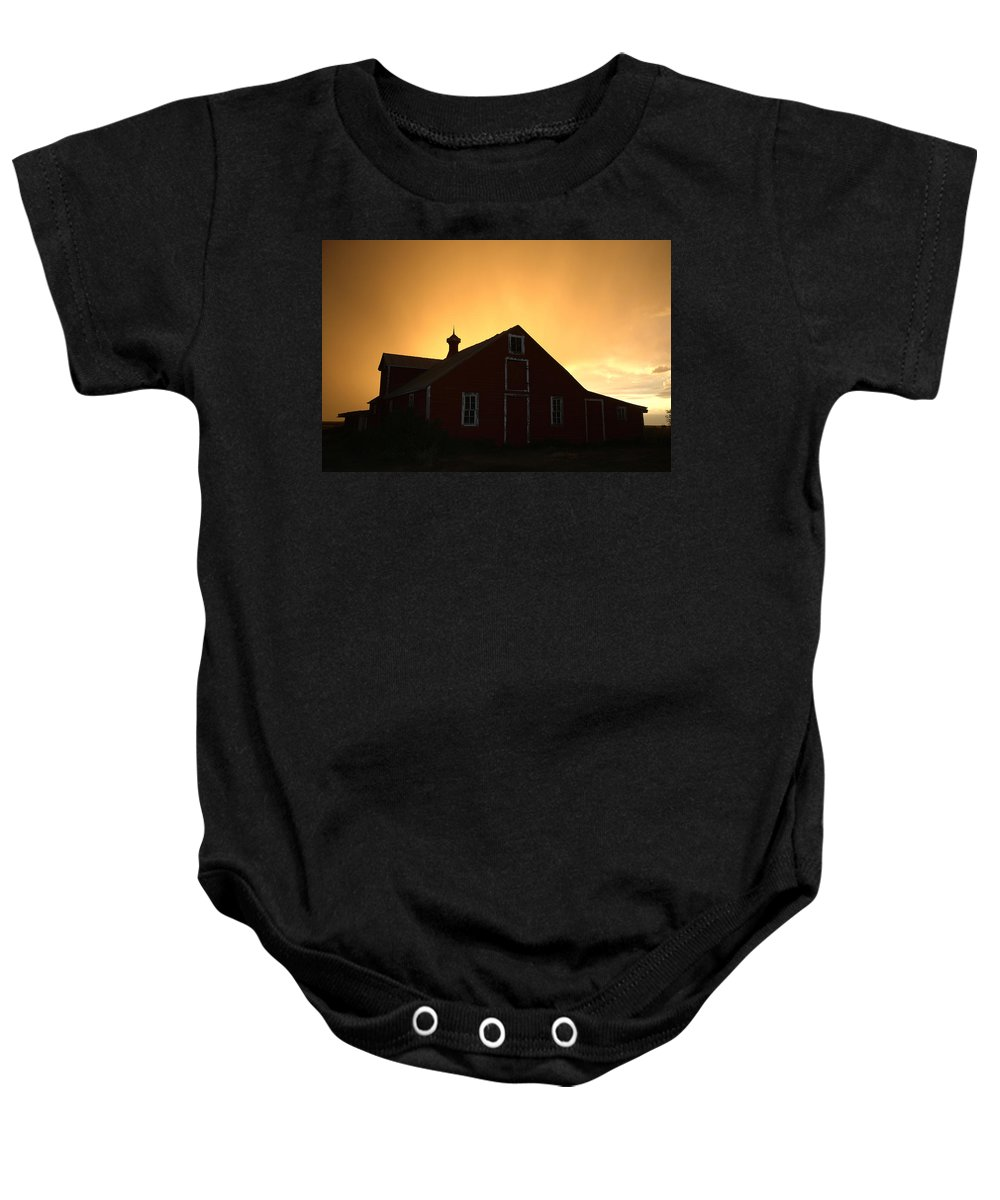 Barn Baby Onesie featuring the photograph Barn at Sunset by Jerry McElroy