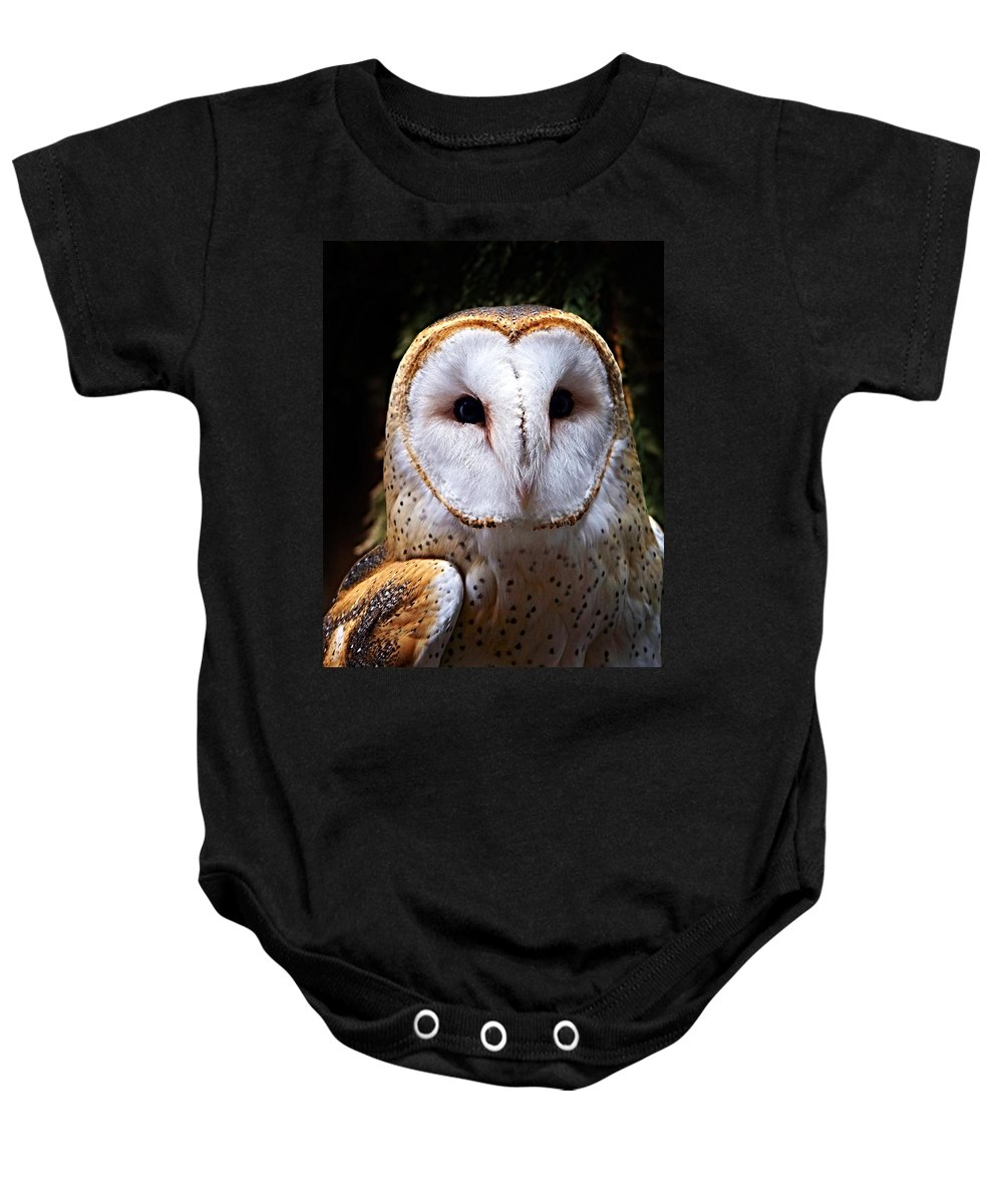 Barn Owl Baby Onesie featuring the photograph Barn Owl by Anthony Jones