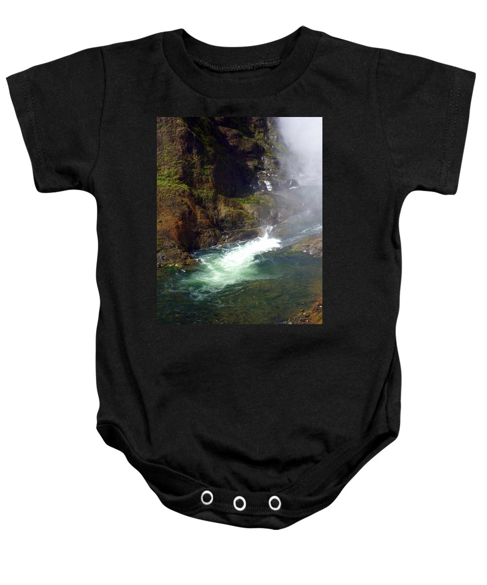 Yellowstone National Park Baby Onesie featuring the photograph Base Of The Falls 1 by Marty Koch