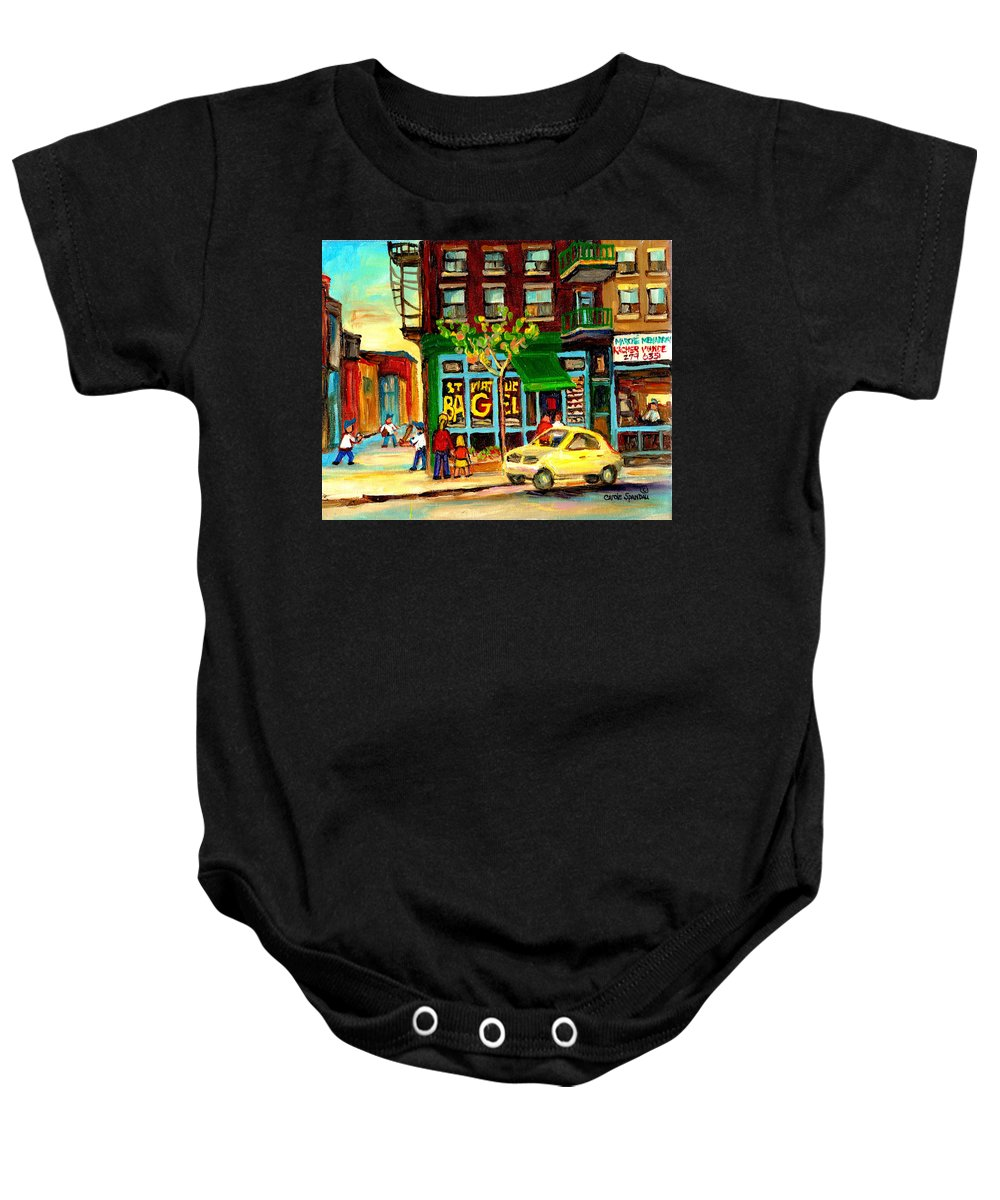 St Baby Onesie featuring the painting Baseball And A Bagel by Carole Spandau