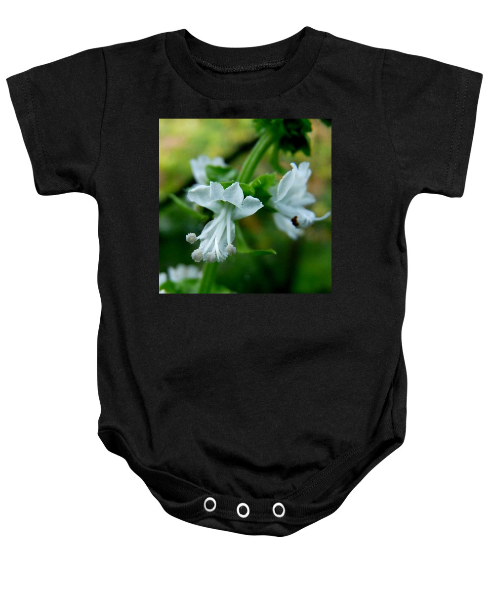 Basil Baby Onesie featuring the photograph Basil Bloom by Valerie Ornstein