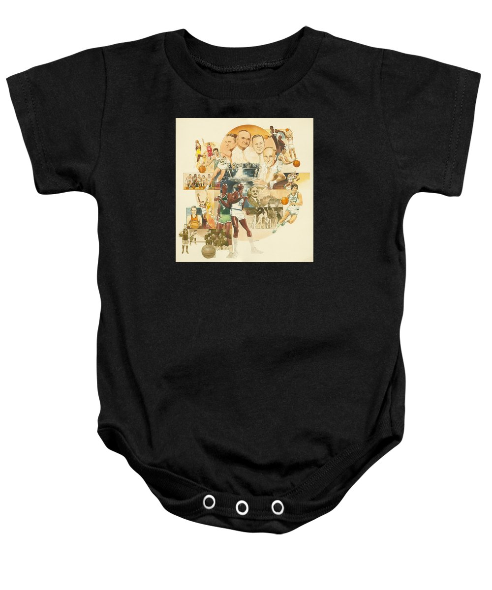 Don Langeneckert Baby Onesie featuring the painting Basketball by Don Langeneckert