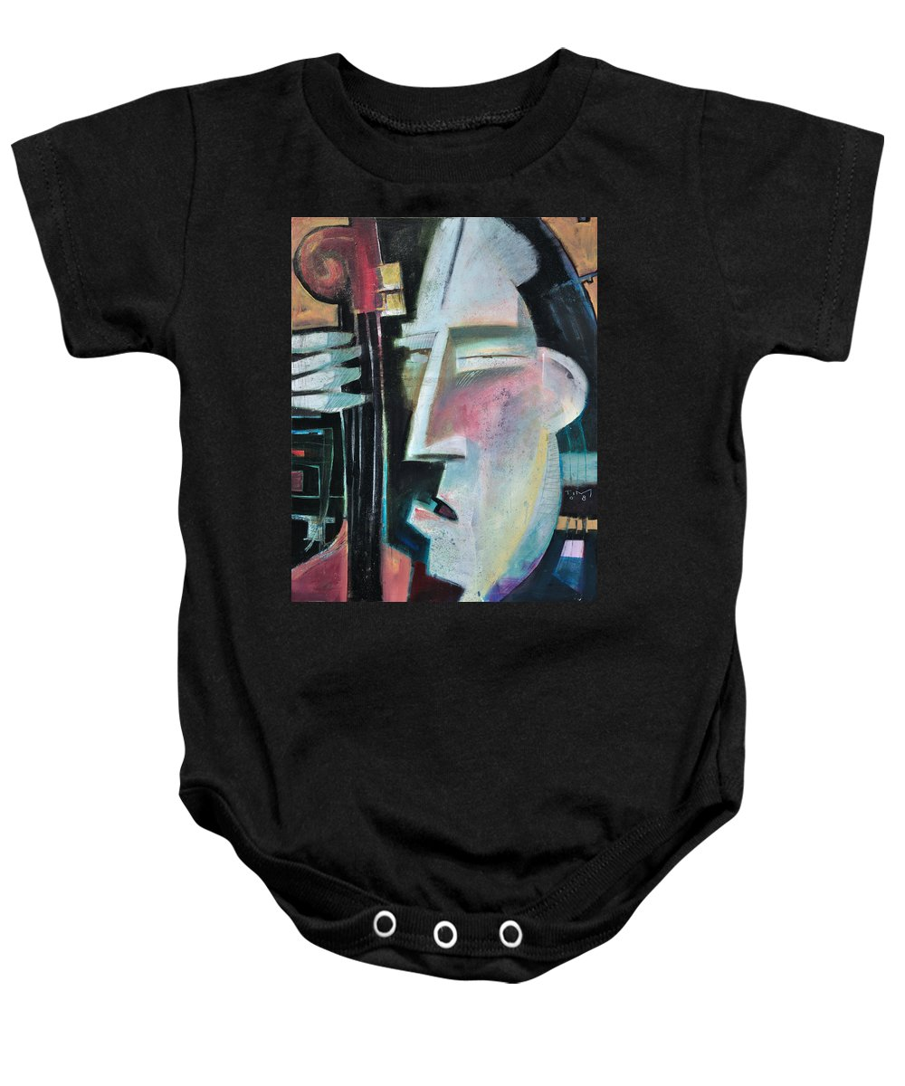 Jazz Baby Onesie featuring the painting Bass Face by Tim Nyberg