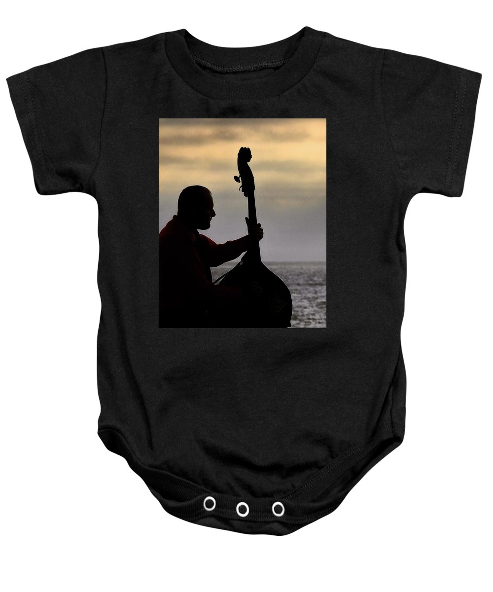 Silhouette Baby Onesie featuring the photograph Bass Silhouette by Greg Kear