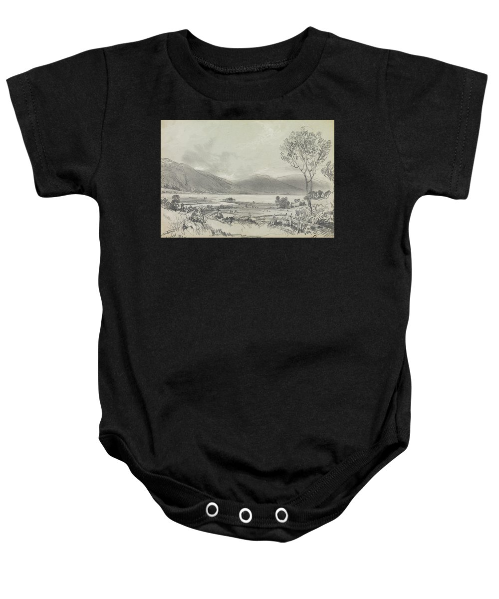English Art Baby Onesie featuring the drawing Bassenthwaite by Edward Lear