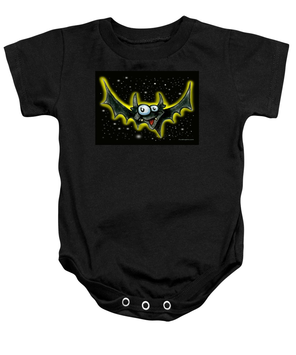 Bat Baby Onesie featuring the greeting card Bat by Kevin Middleton