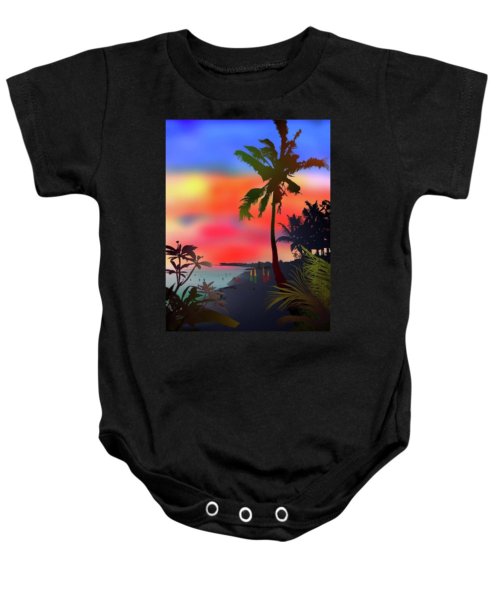 Bali Baby Onesie featuring the digital art Echo Beach, Bali by Nick Batanoni