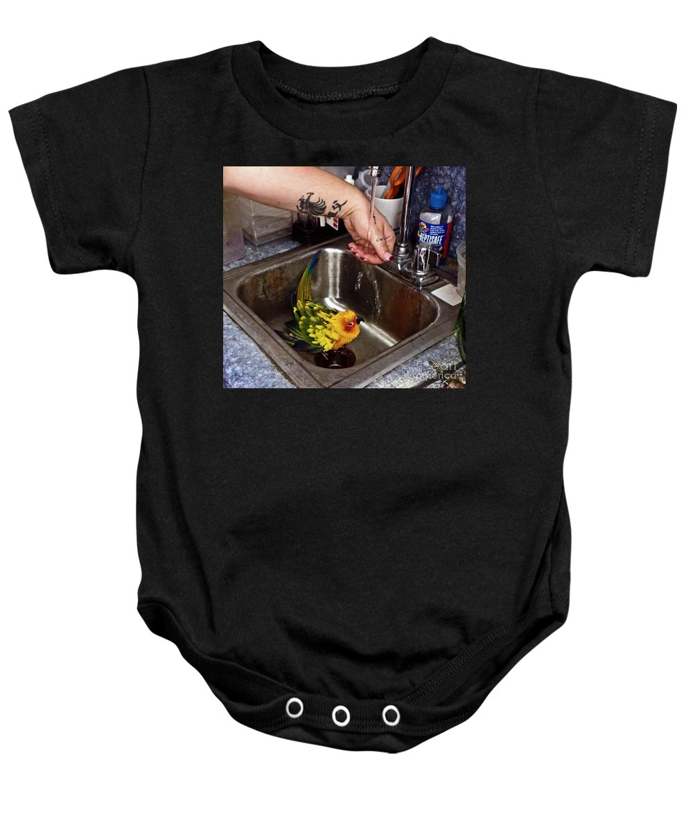 Parrot Baby Onesie featuring the photograph Bath Time by Catherine Melvin
