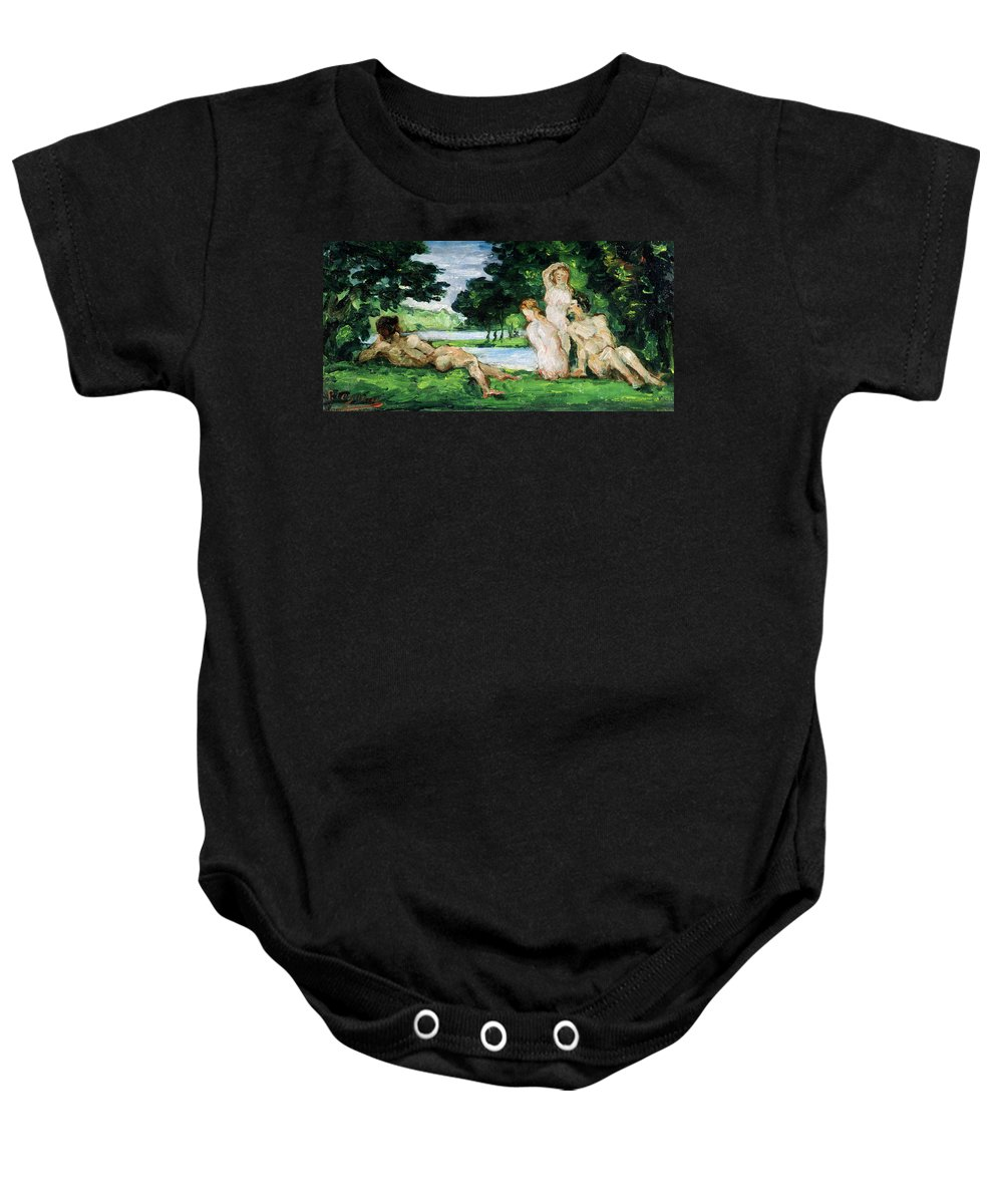 Cezanne Baby Onesie featuring the painting Bathers Male And Female by Paul Cezanne