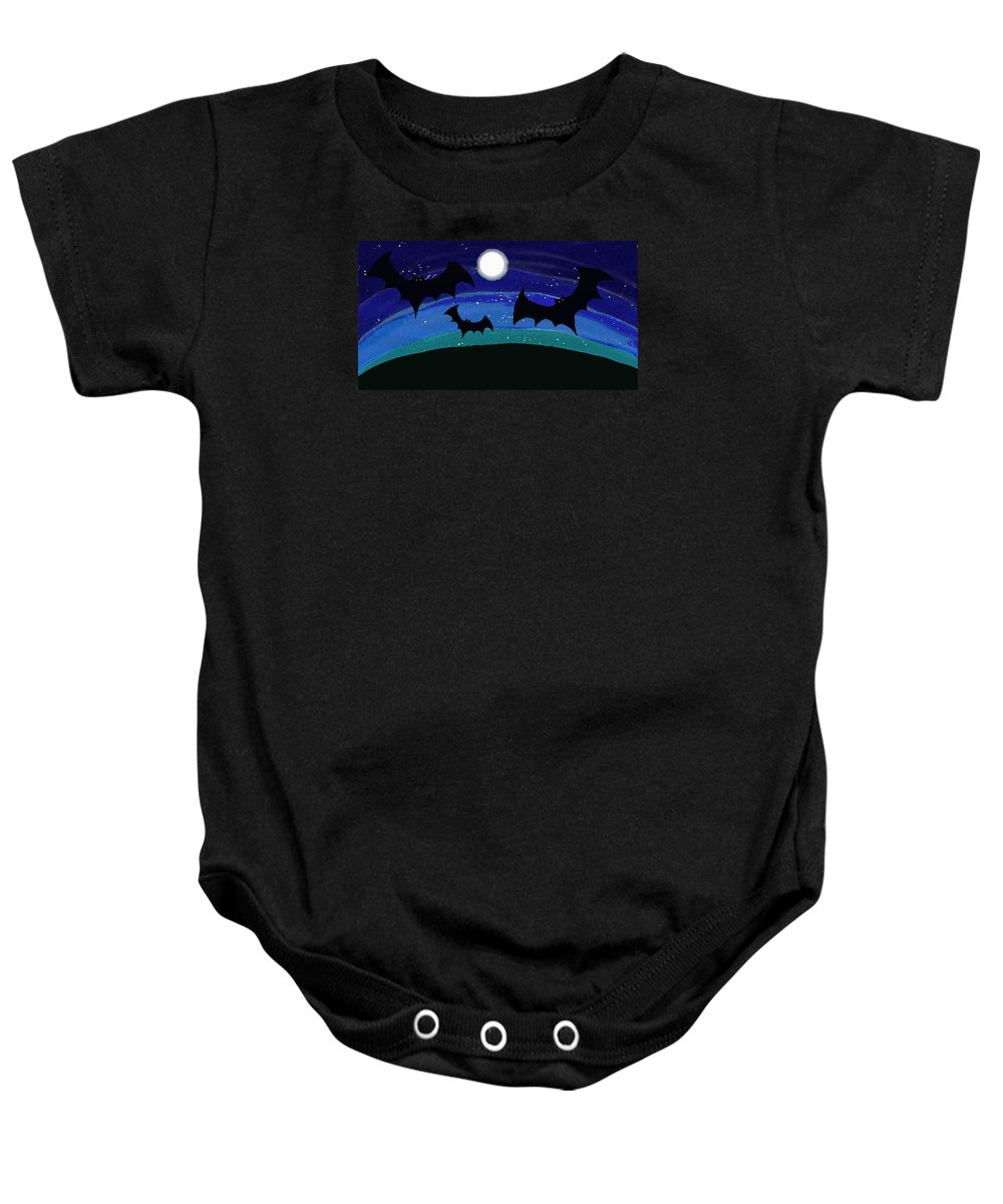 Bats At Night Baby Onesie featuring the painting Bats At Night by Priscilla Wolfe