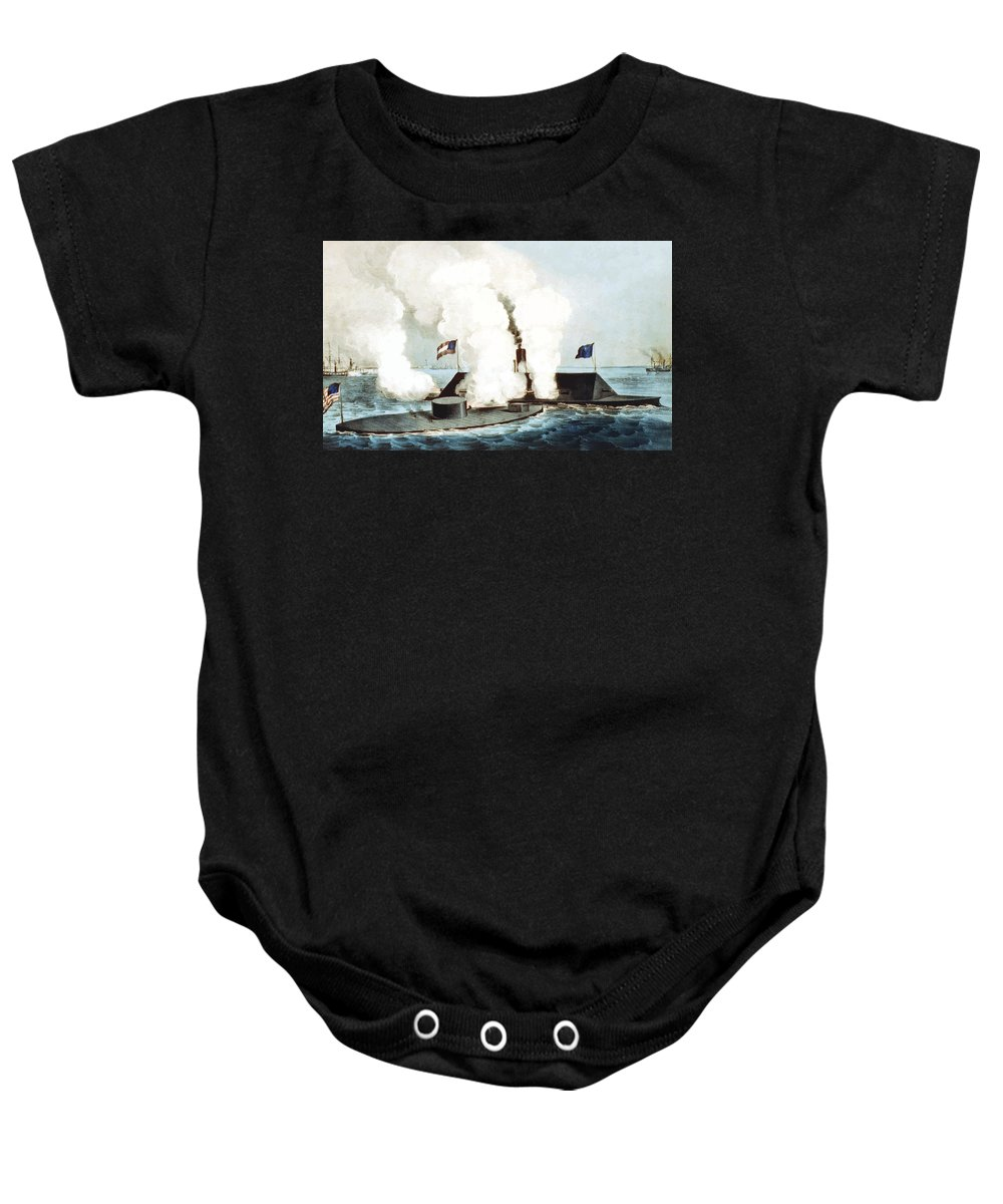 Monitor Baby Onesie featuring the painting Battle Of The Monitor And Merrimack by War Is Hell Store