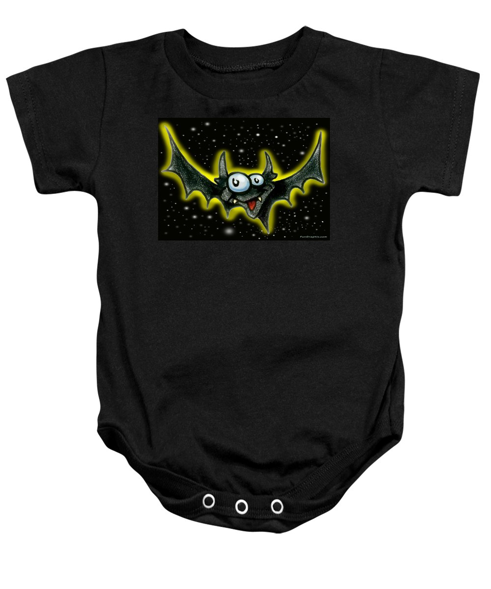 Bat Baby Onesie featuring the greeting card Batty by Kevin Middleton