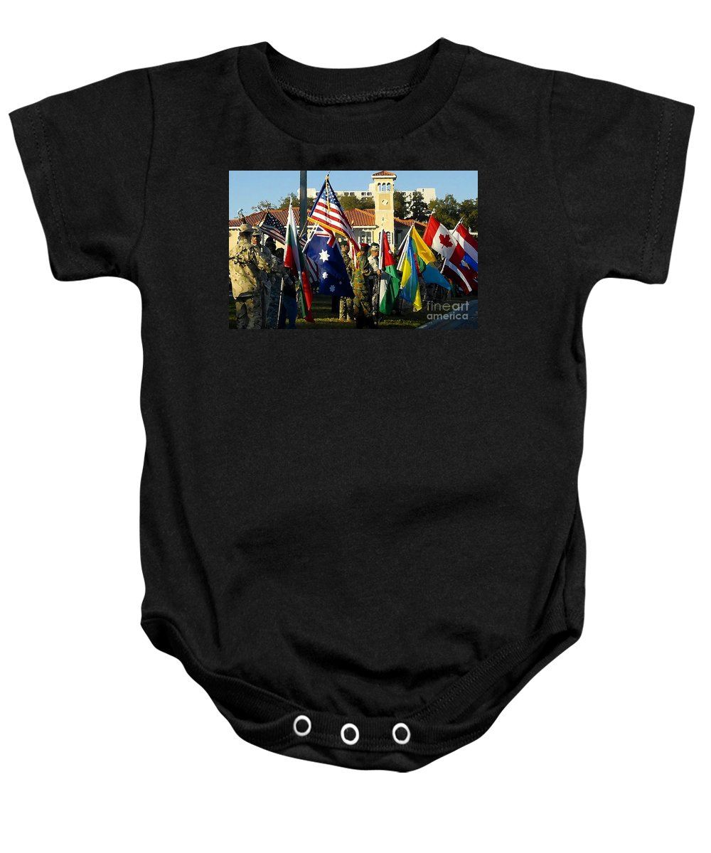 Bayshore Baby Onesie featuring the photograph Bayshore Patriots by David Lee Thompson