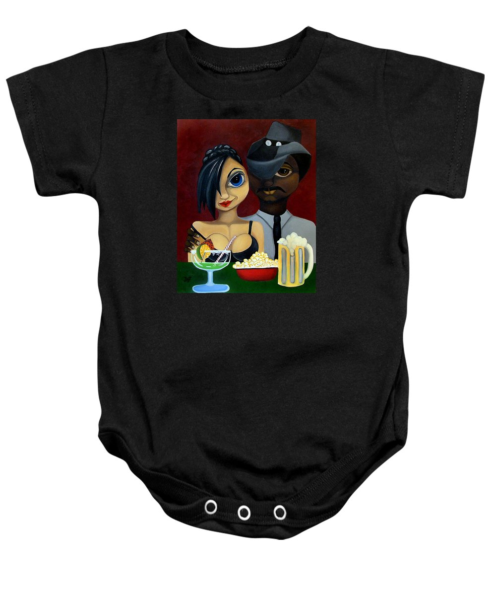 Sweethearts Baby Onesie featuring the painting Be My Valentine by Elizabeth Lisy Figueroa