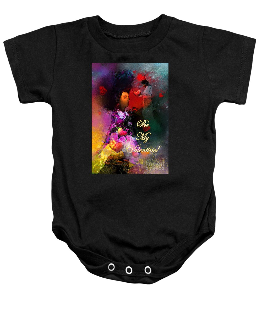 Love Baby Onesie featuring the painting Be My Valentine by Miki De Goodaboom