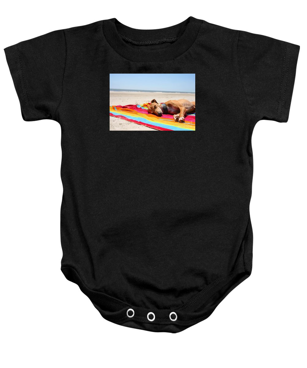 Black And White Baby Onesie featuring the photograph Beach Dreams Are Made Of These by Angela Rath