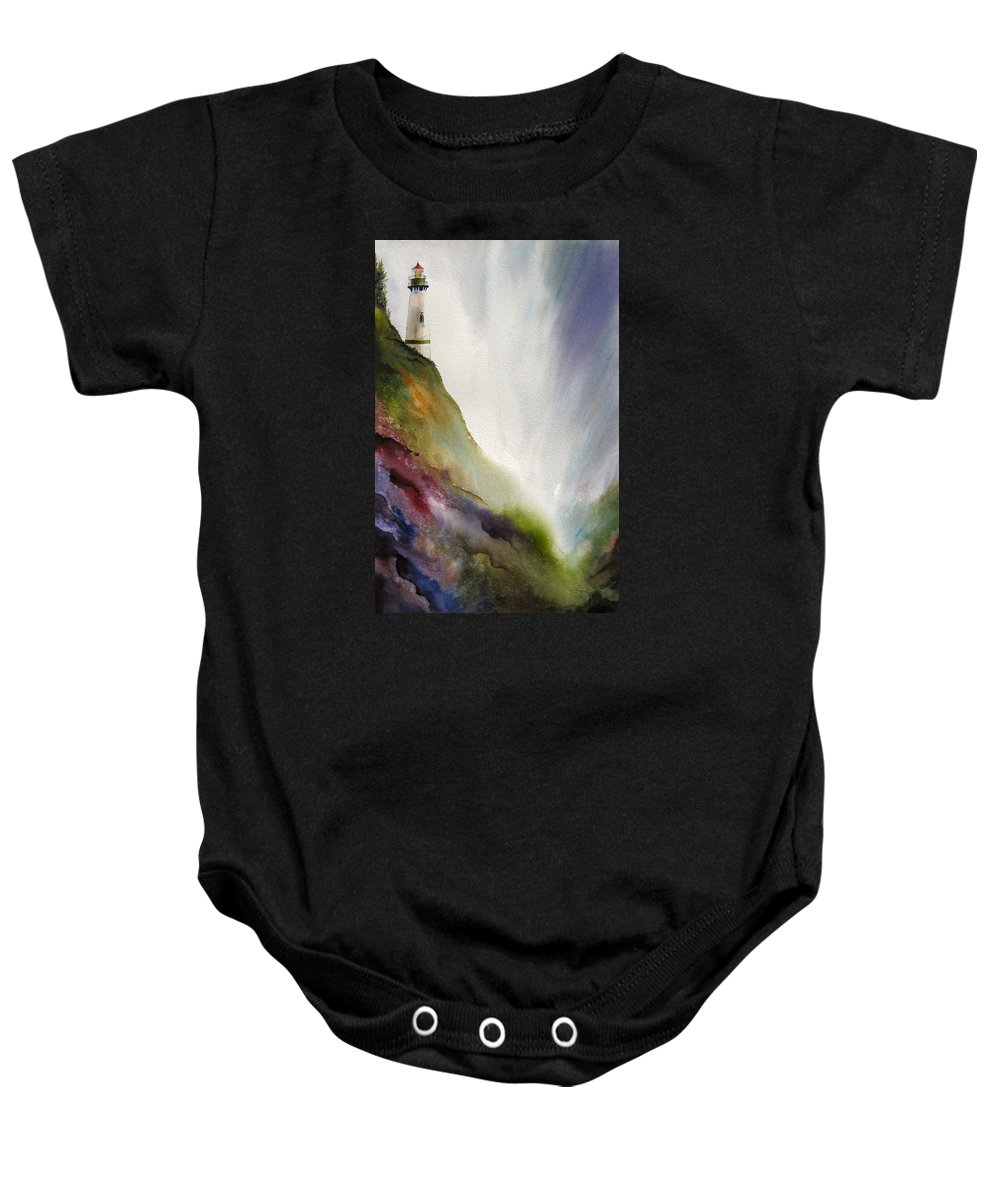 Lighthouse Baby Onesie featuring the painting Beacon by Karen Stark