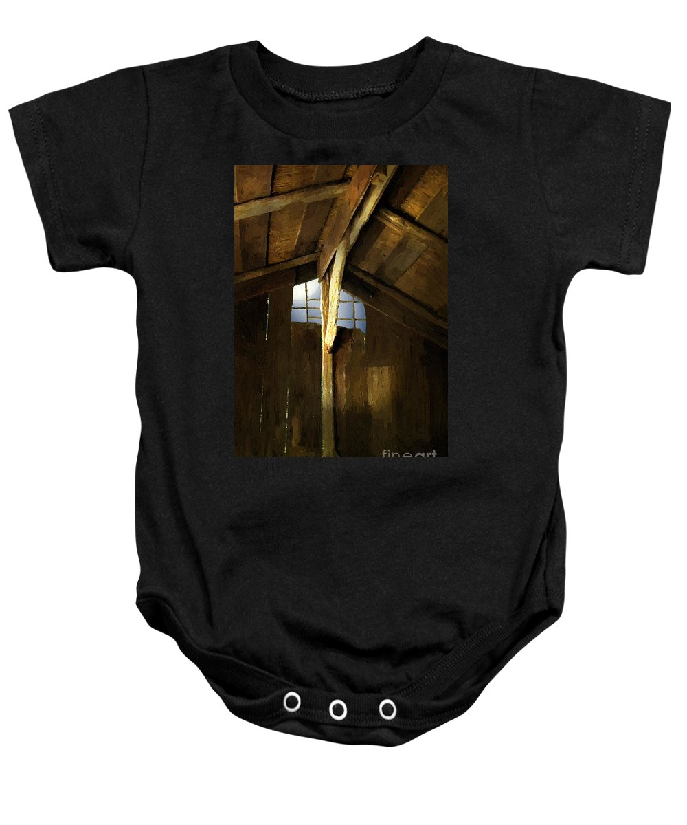 Barn Baby Onesie featuring the painting Beam Me Up by RC DeWinter