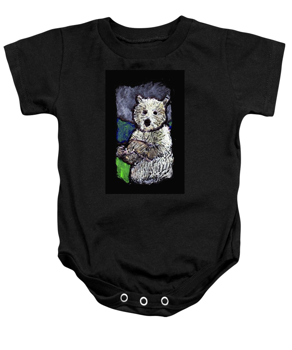 Bear Baby Onesie featuring the painting Bearly Scary by Wayne Potrafka