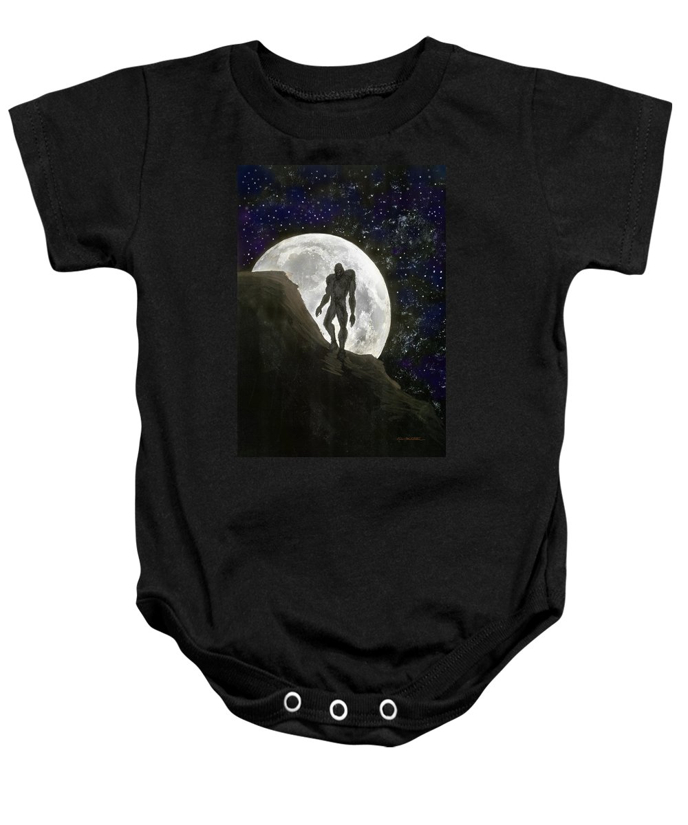 Beast Baby Onesie featuring the painting Beast At Full Moon by Kevin Middleton