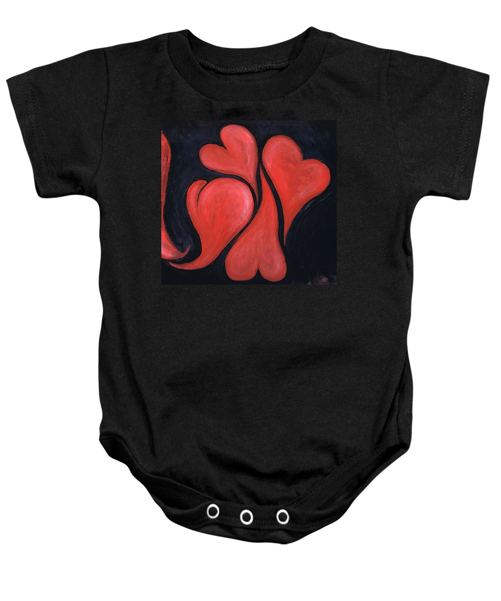 Hearts Baby Onesie featuring the painting Beating Hearts by Nancy Mueller