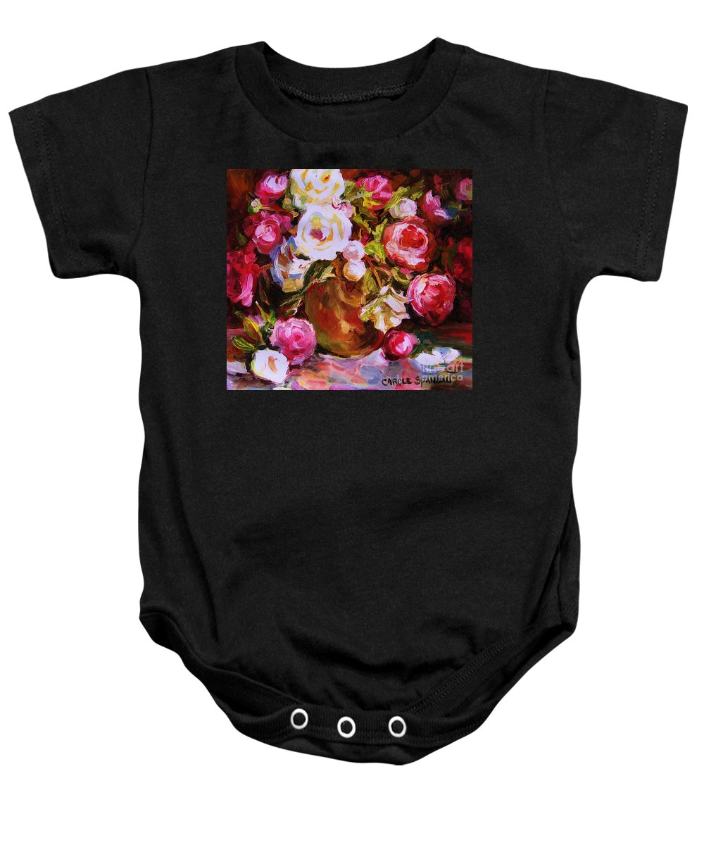 Roses Baby Onesie featuring the painting Beautiful Bouquet by Carole Spandau