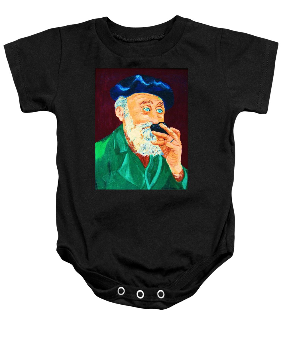 Portraits Baby Onesie featuring the painting Beautiful Old Blue Eyes by Carole Spandau