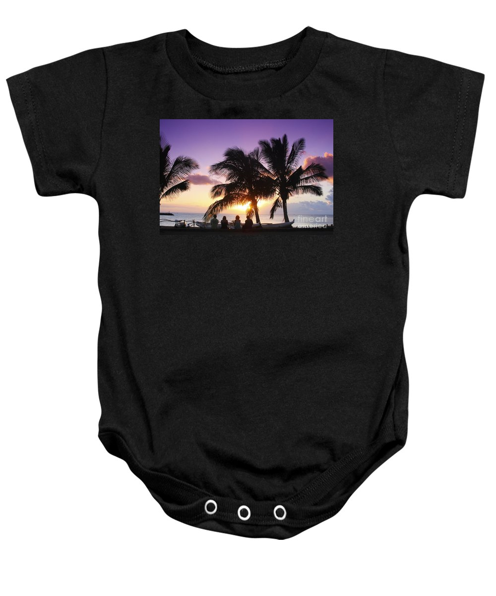 Beach Baby Onesie featuring the photograph Beautiful Purple Sunset by Vince Cavataio - Printscapes
