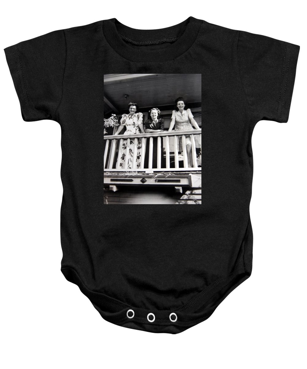 Ladies Women 1950s Classic Black And White Photography Baby Onesie featuring the photograph Beauty And Balconies by Andrea Lawrence