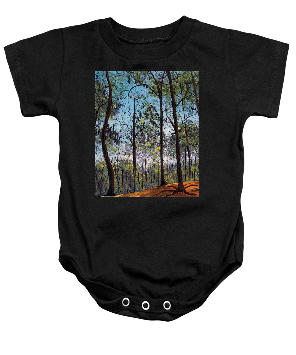 Forest Baby Onesie featuring the painting Beauty Around Us 1 by Gloria E Barreto-Rodriguez