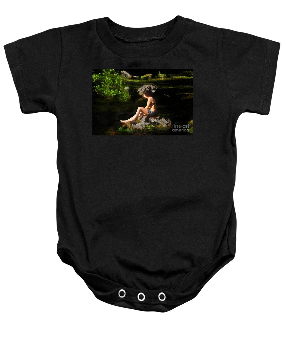Beauty Baby Onesie featuring the painting Beauty On The Rocks by David Lee Thompson