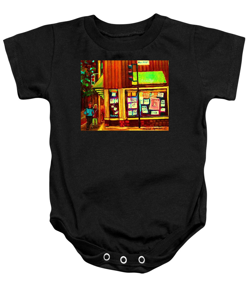 Beautys Restaurant Baby Onesie featuring the painting Beautys Famous Mishmash by Carole Spandau