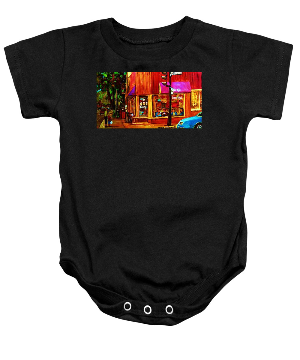 Beautys Restaurant Montreal Baby Onesie featuring the painting Beautys Luncheonette by Carole Spandau