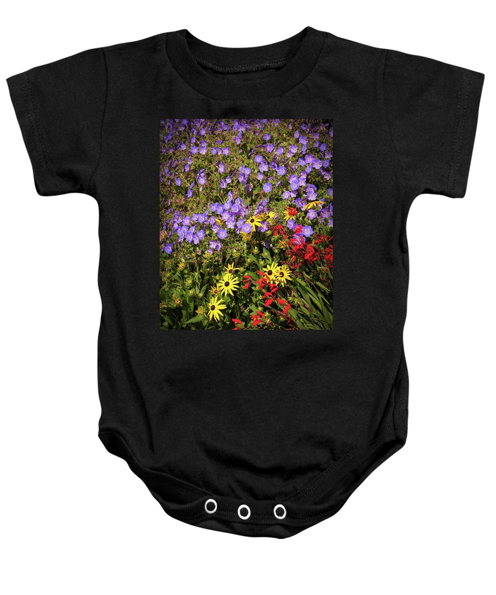 Flowers Baby Onesie featuring the photograph Bed Of Flowers by Mike Penney