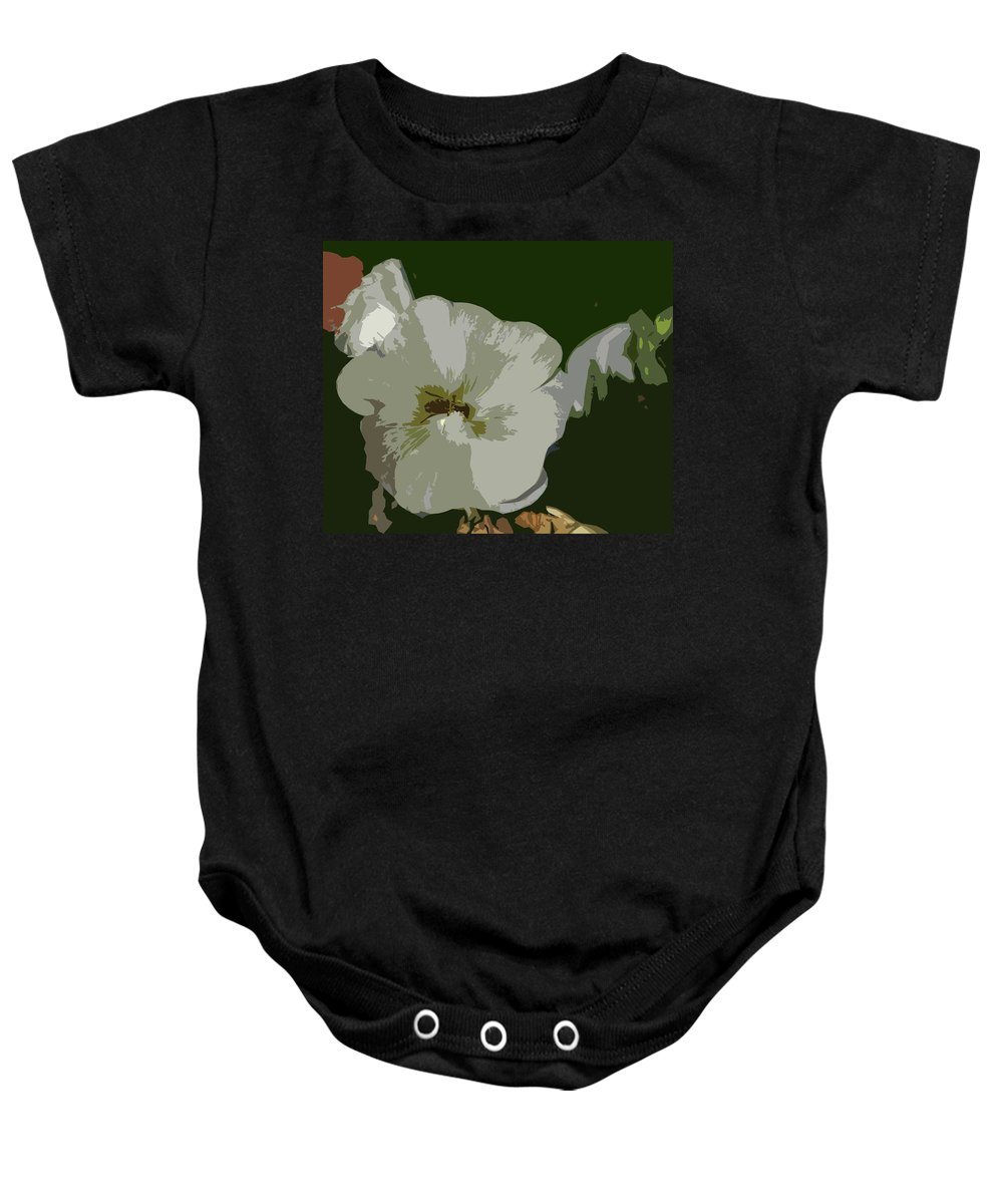 Abstract Baby Onesie featuring the photograph Bee In The Hollyhock by Lenore Senior