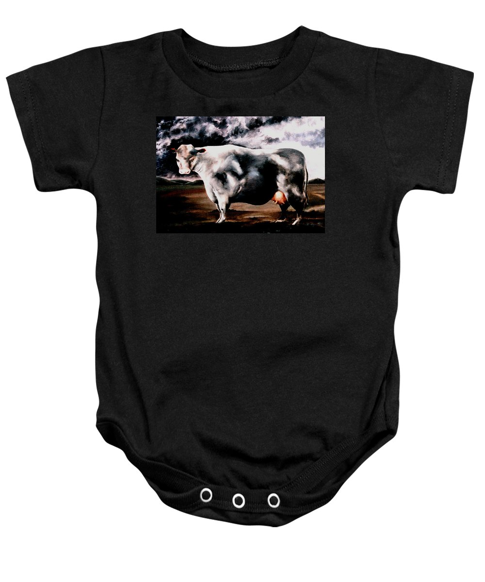 Cow Baby Onesie featuring the painting Beef Holocaust Iv by Mark Cawood