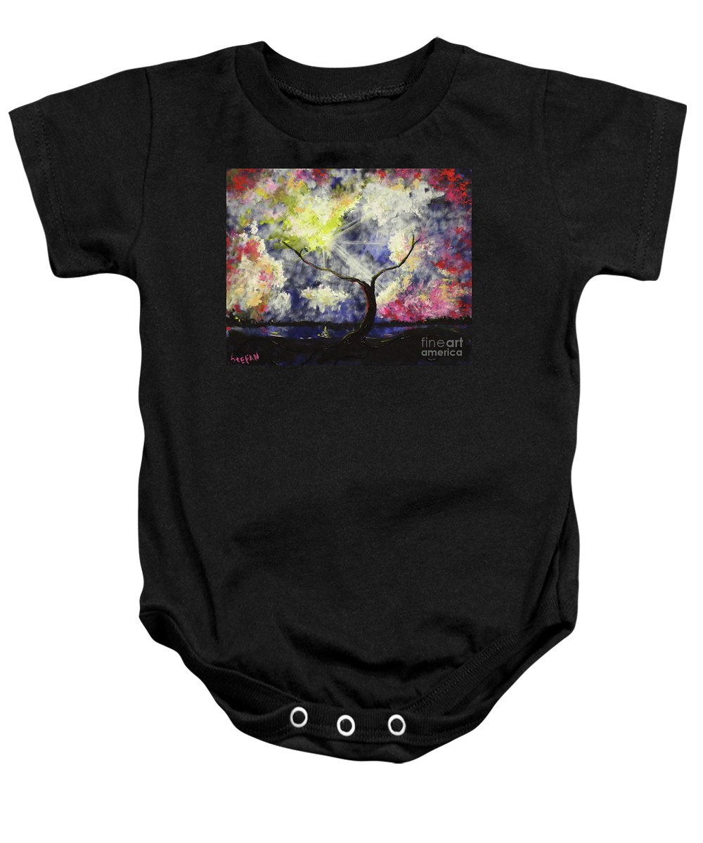 Landscape Baby Onesie featuring the painting Beleaf Dove House by Stefan Duncan