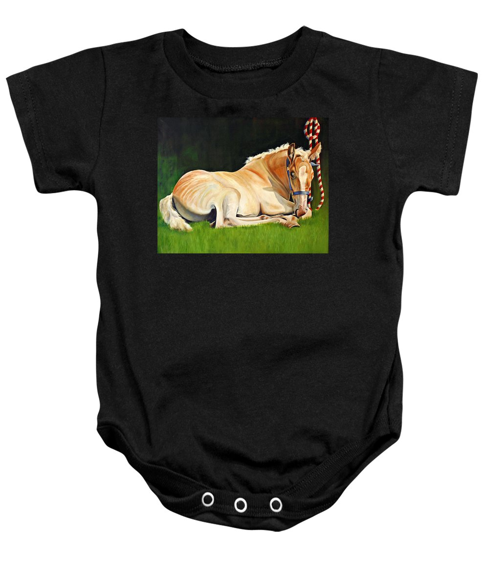 Belgian Baby Onesie featuring the painting Belgian Horse Foal by Toni Grote