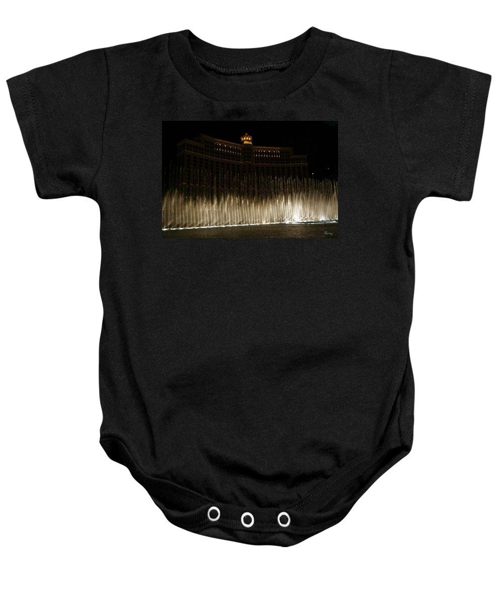 Bellagio Fountains Las Vegas Nevada Show Water Hotel Baby Onesie featuring the photograph Bellagio Fountains by Andrea Lawrence