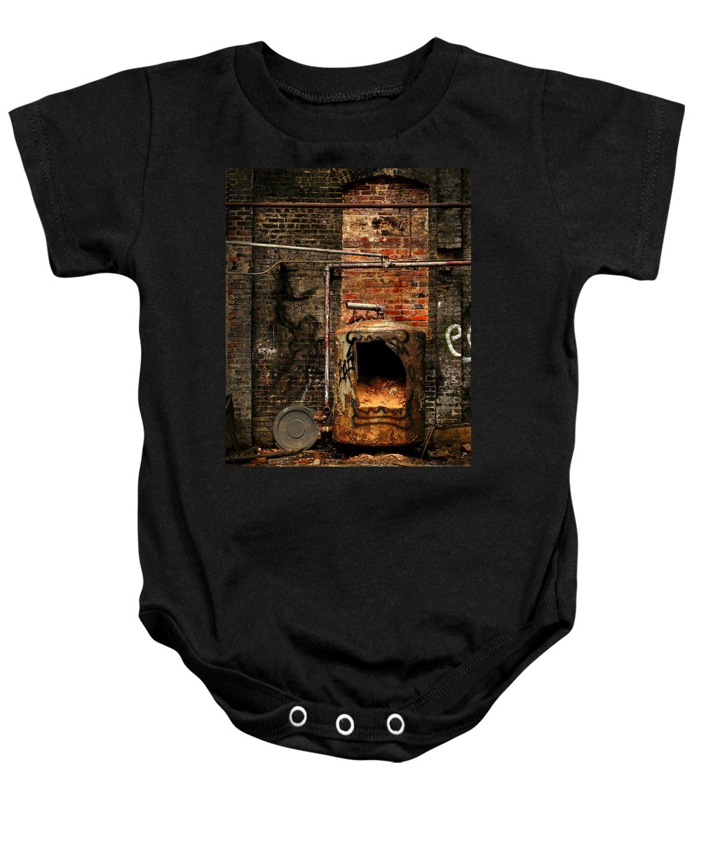 Factory Baby Onesie featuring the photograph Belly Of The Beast by J K York