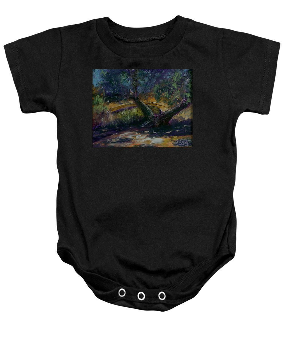Landscape Baby Onesie featuring the painting Bent Tree by Stephen King
