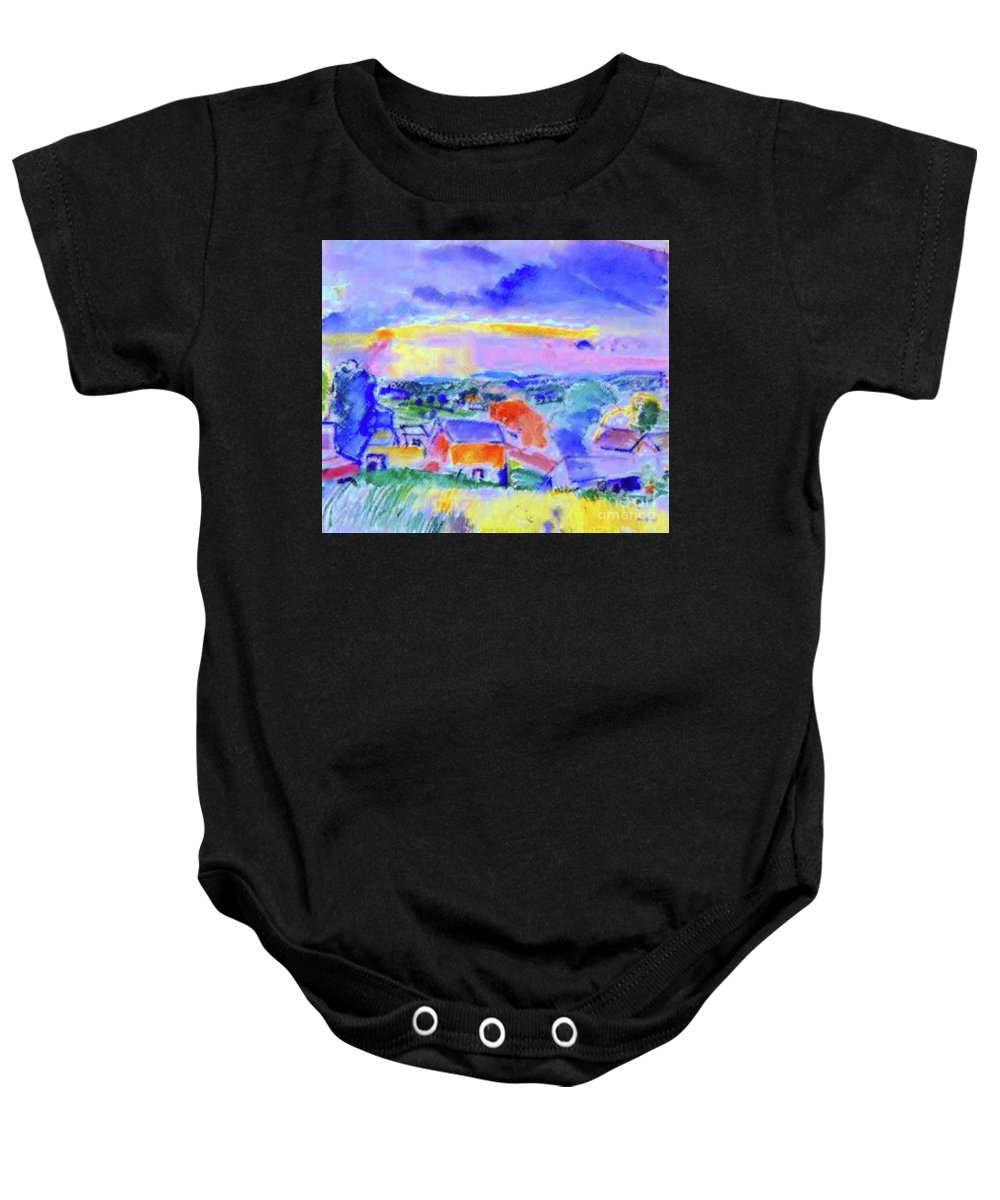 Landscape Baby Onesie featuring the painting Berkshire Hills by D Fessenden