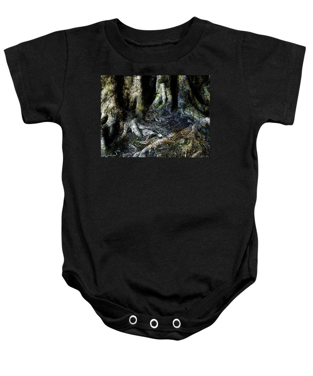Tree Baby Onesie featuring the photograph Beyond The Forest Edge by Kelly Jade King