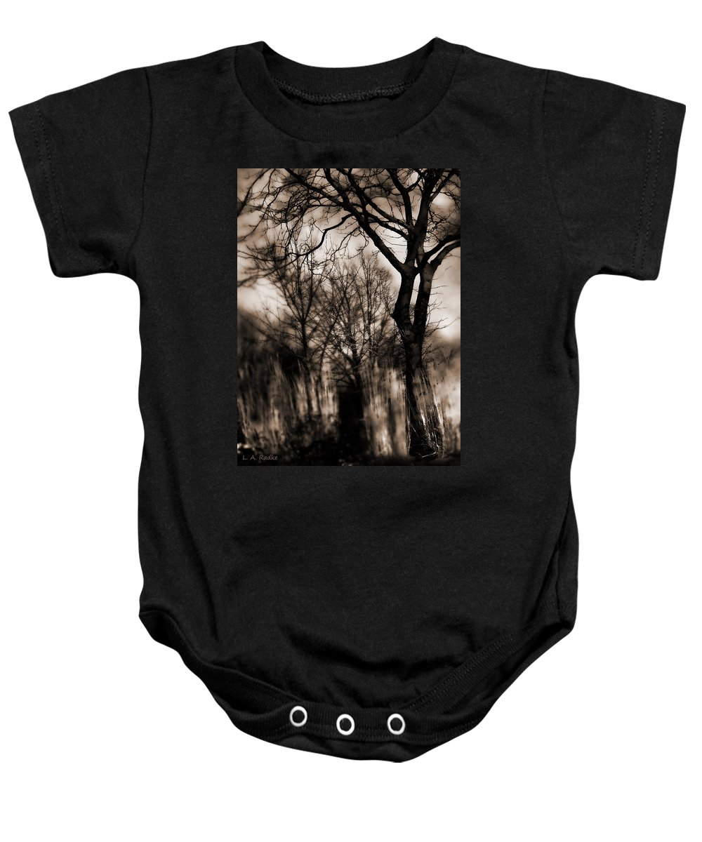 Tree Baby Onesie featuring the photograph Beyond Twilight by Lauren Radke