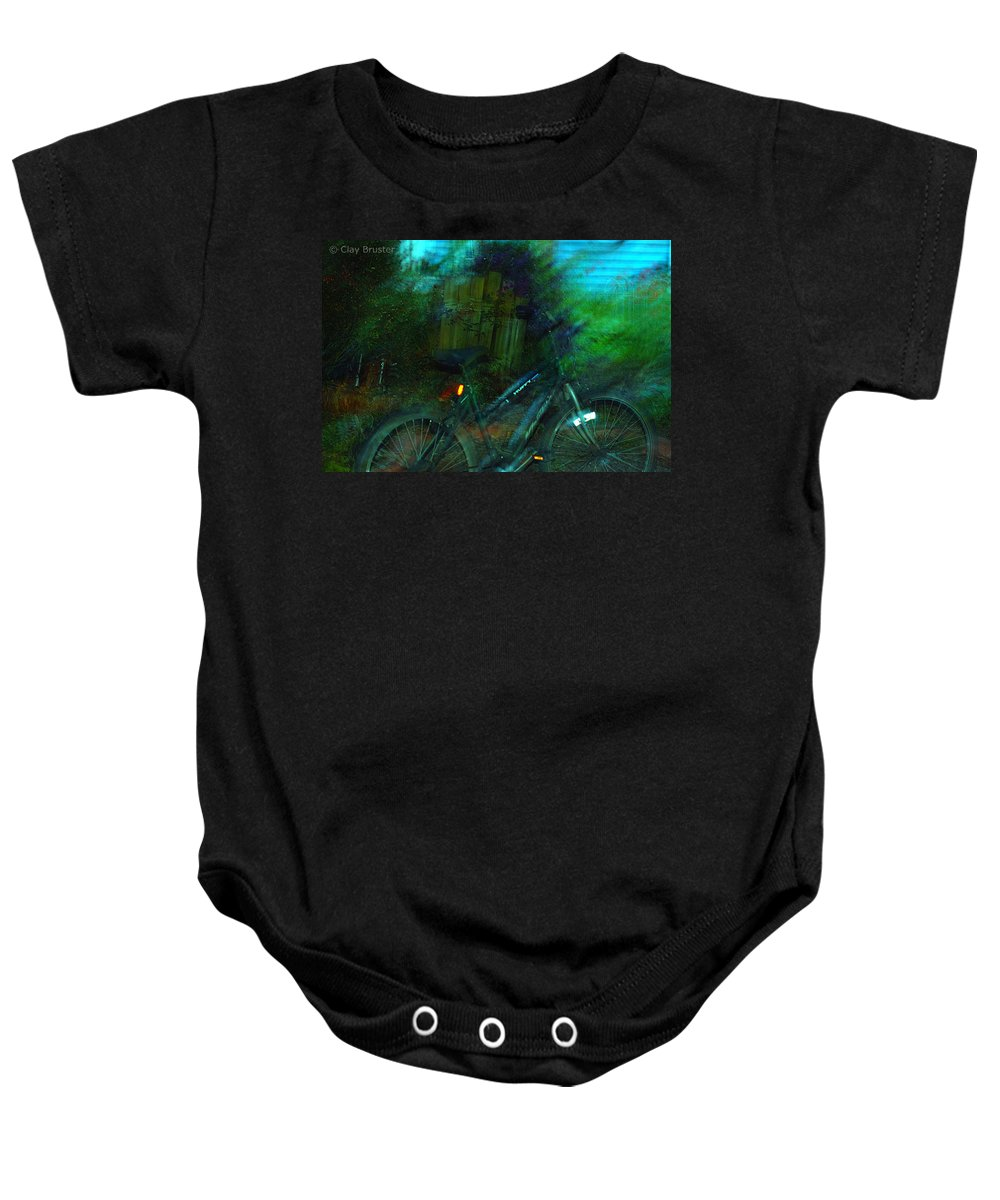 Clay Baby Onesie featuring the photograph Bicycle by Clayton Bruster